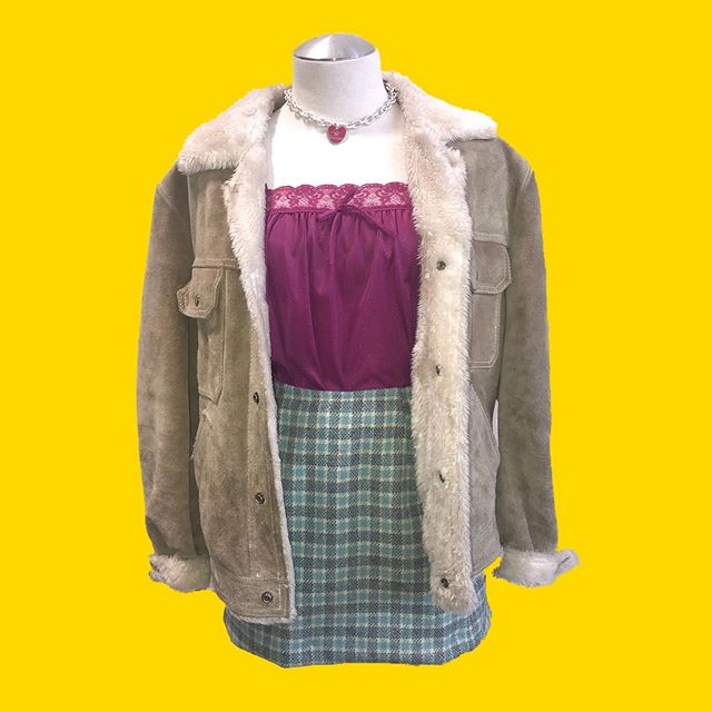 Vintage suede trucker jacket complete with a fuzzy inner⁎⁺˳✧༚ 70s lacey magenta slip top paired with a vintage Pendleton plaid wool skirt ♡