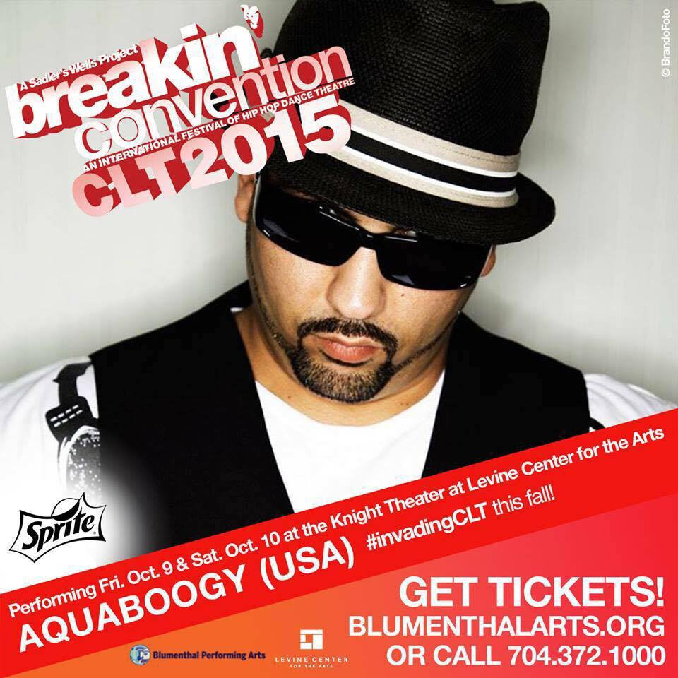 """Aquaboogy was the only U.S. soloist in the Breakin' Convention's 2015 tour. He proudly represented his country and received a great review from Broadway World. See the """"Summarized Reviews"""" section of the Bio Page for more information!"""