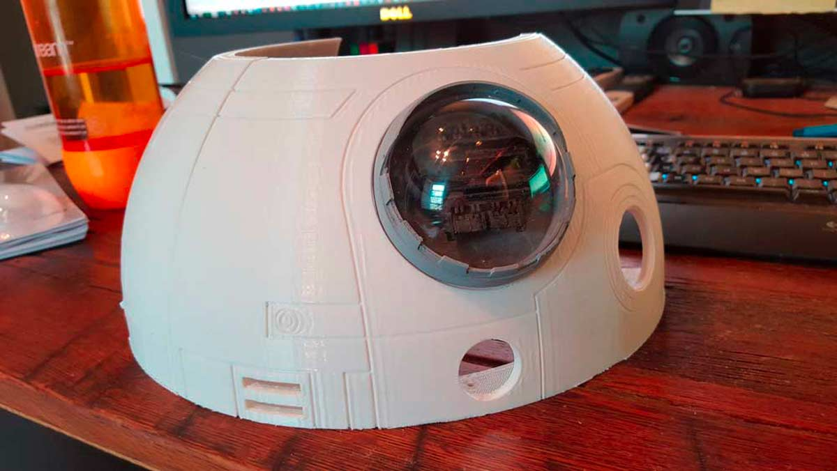 The lens of the radar eye is a filed down clear plastic Christmas ornament