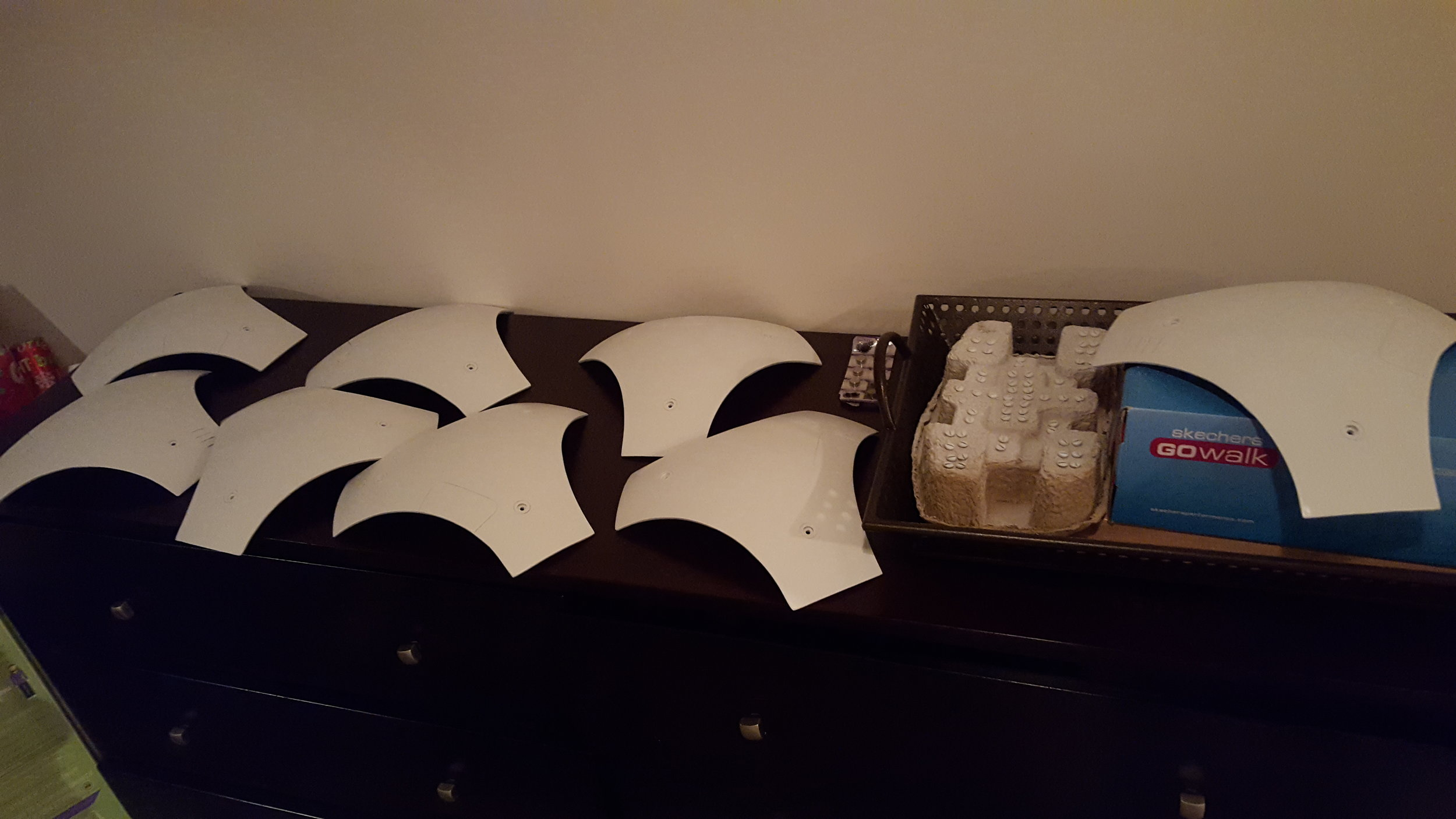 While I was waiting for that white to fully cure I painted the triangles and some screws