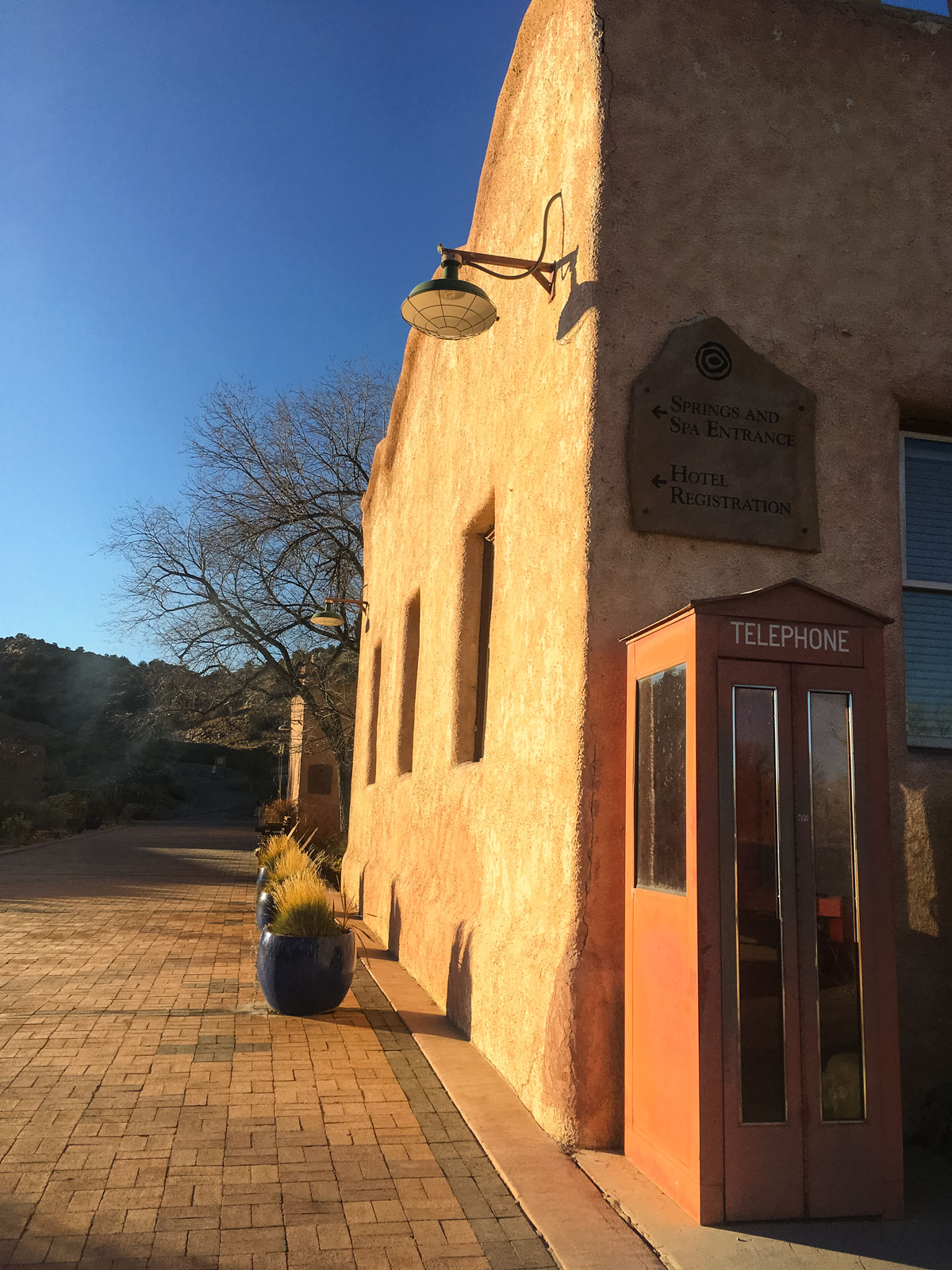 Adobe buildings abound at the resort with fire pits, desert plants and rock gardens scattered around the property.