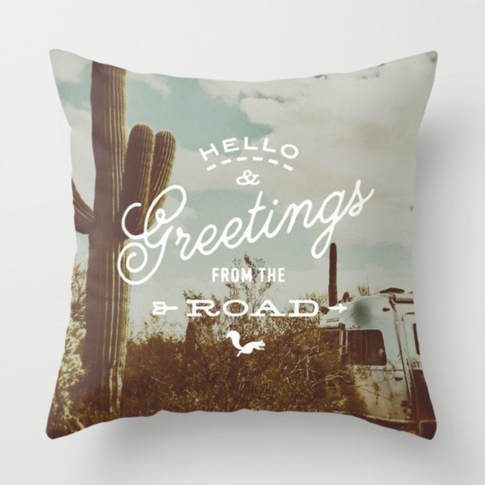 $29.99 on Society6 • Greetings from the Road Pillow by Busy Campers