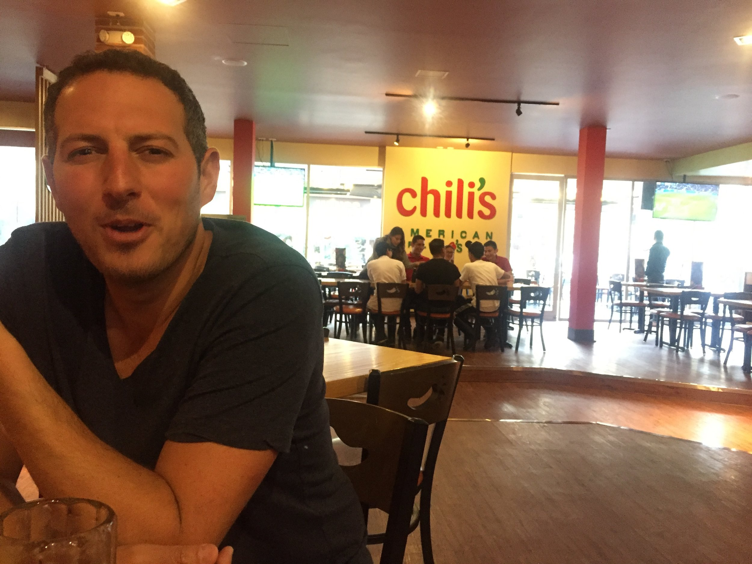 When you're the only people in Chili's so the entire staff has a meeting instead of caring that you're there.