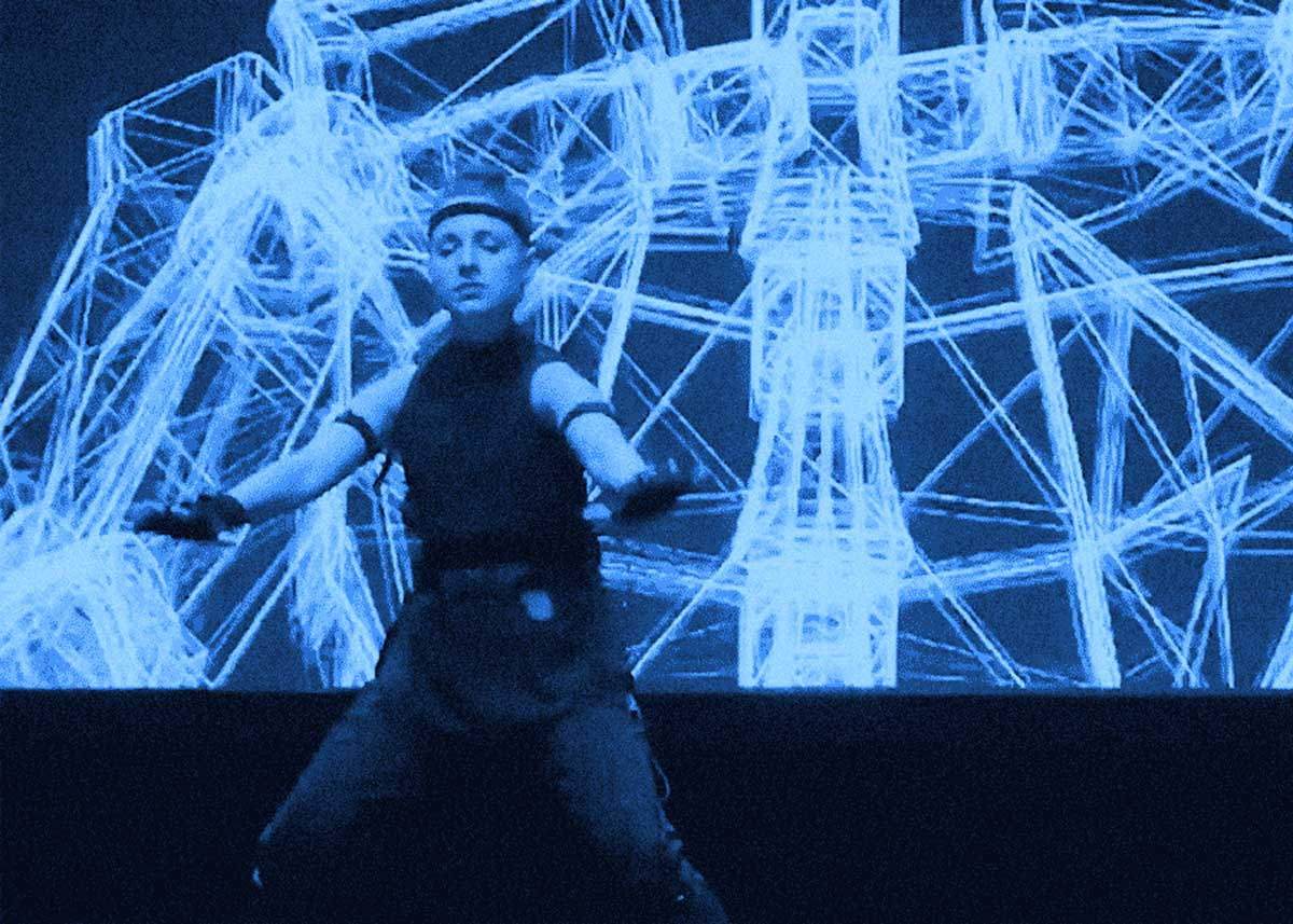Lauren Bedal performing with the OpenPerform motion capture live performance syatem, developed by Travis Bennet at Kinetech Arts.