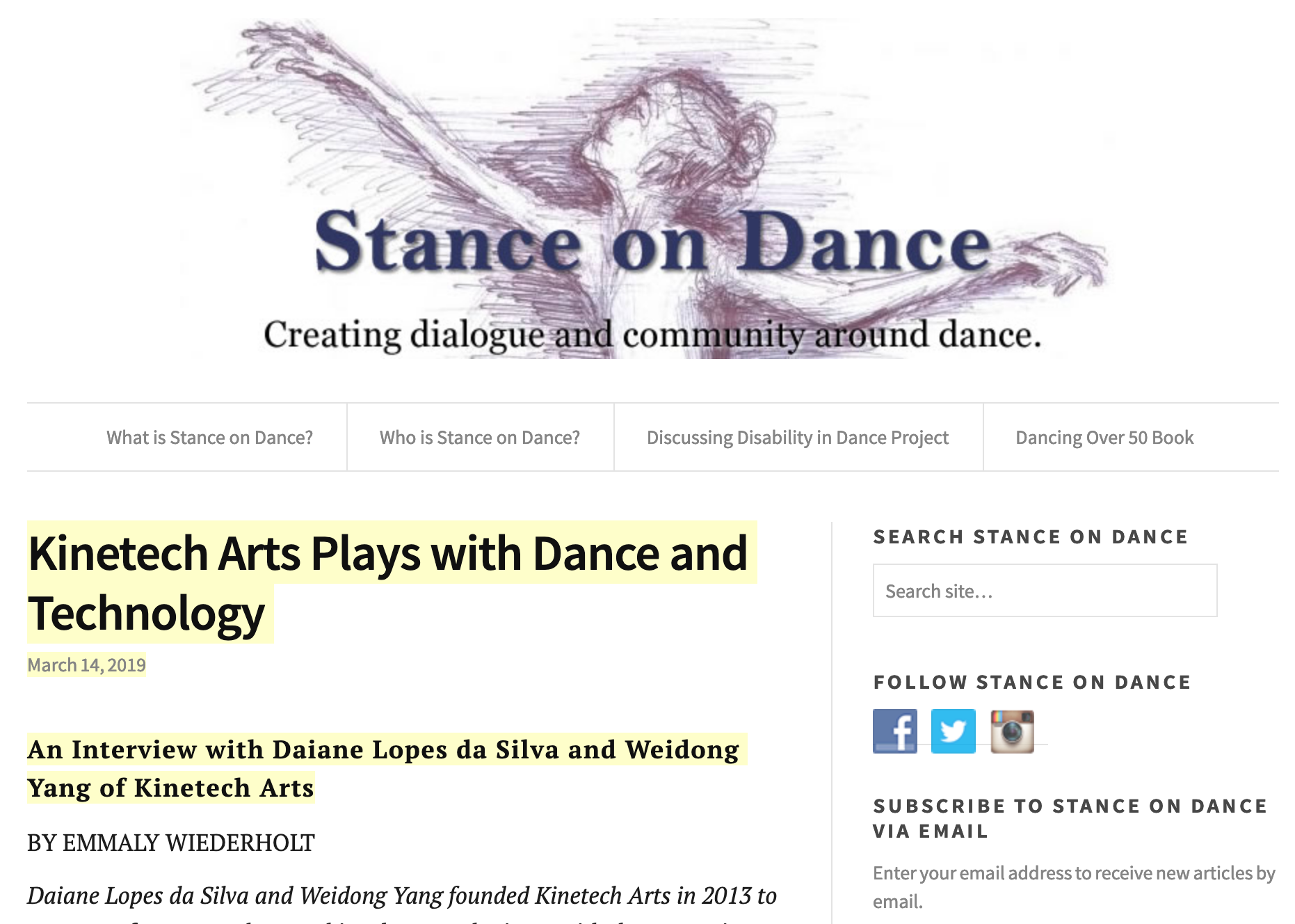 Interview - Kinetech Arts Plays with Dance and Technology: An Interview with Daiane Lopes da Silva and Weidong Yang of Kinetech Arts from Stance on Dance.
