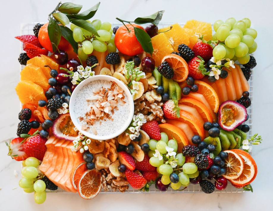 Seasonal Fruit Platter with Toasted Coconut Chia Pudding