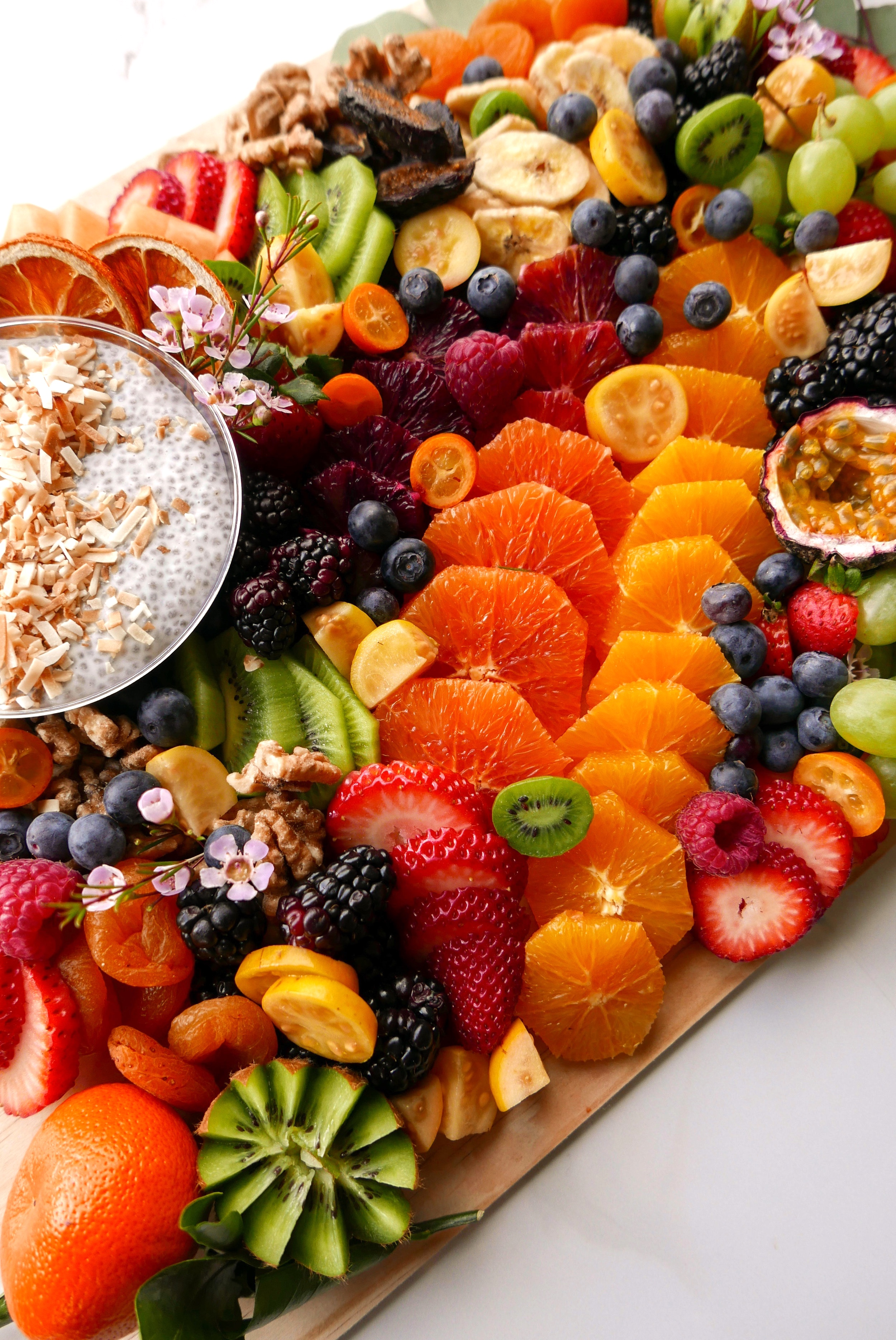 Fruit Platter with Toasted Coconut Chia Pudding