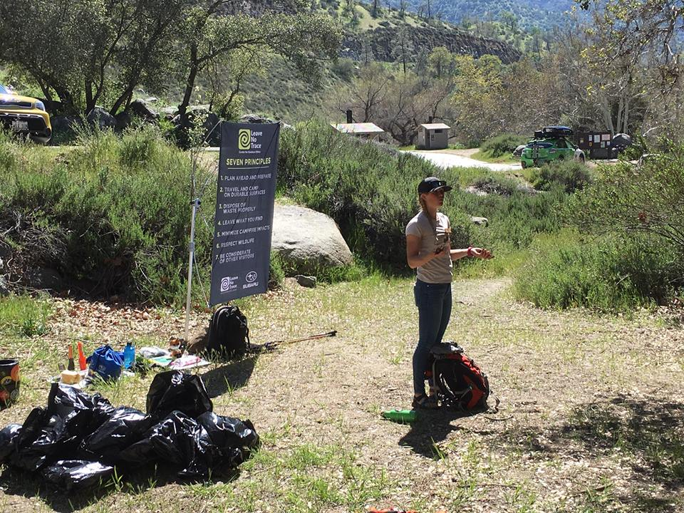Leave No Trace educator, Jenna Hanger teaching the Seven Principles of outdoor ethics
