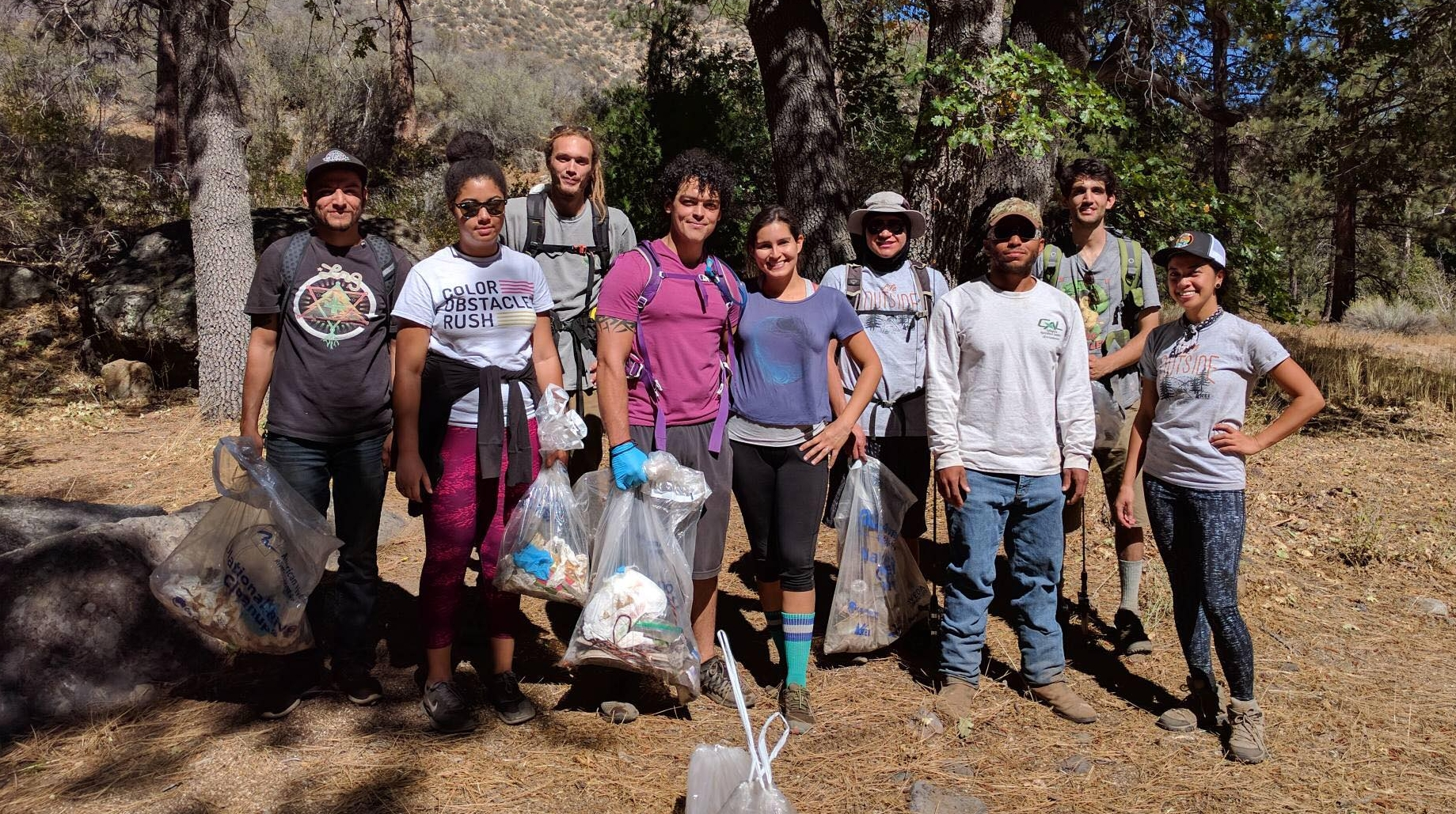 Our volunteers participating in a river clean up at the Forks of the Kern trail in Golden Trout Wilderness.