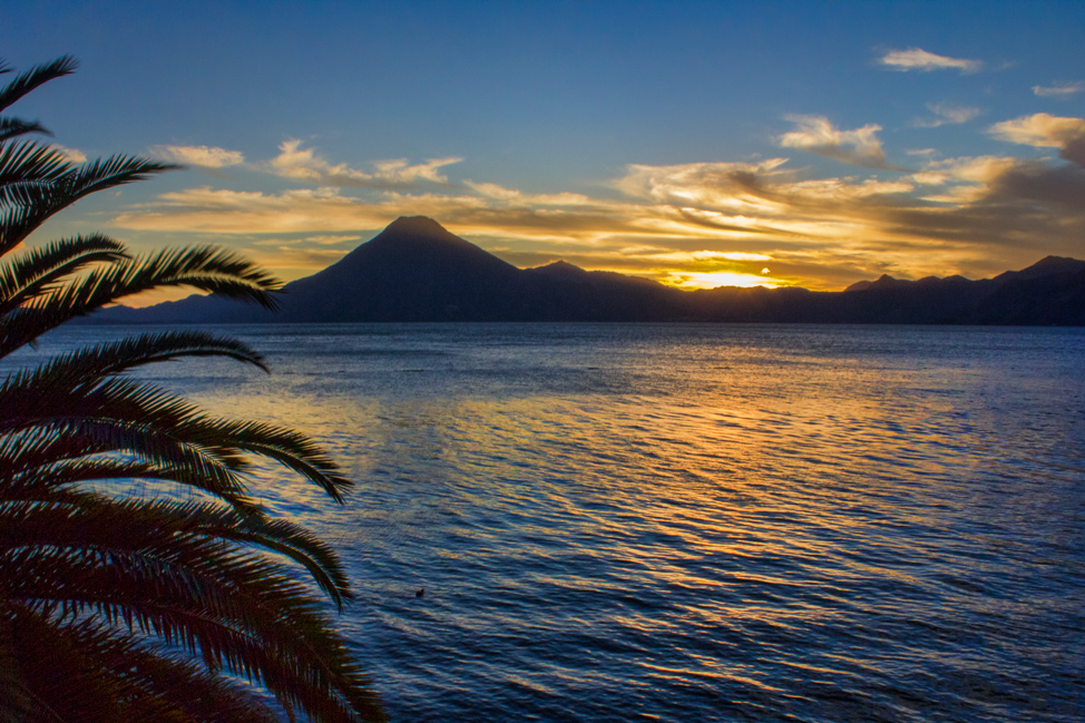 Atitlan is a beautiful, 1,000 foot deep lake nestled against three 10,000 foot volcanic peaks - Toliman, Atitlán and San Pedro.
