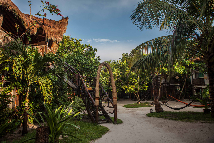 The architecture and design of this place is a mix between jungle posh and paradise cove. Sip on one of their organic smoothies as you sit on the beach.