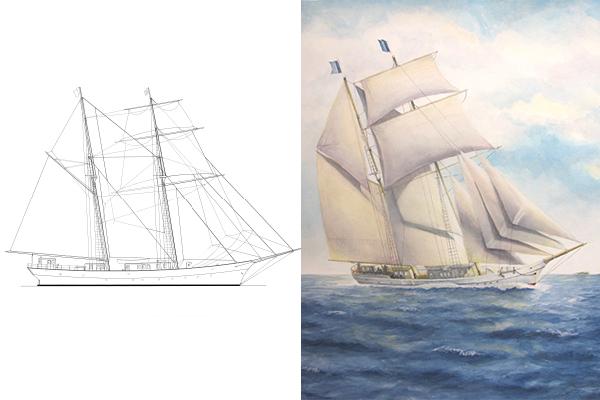 A design for Shenandoah 2.0, a steel successor to the legendary schooner. — Courtesy FUEL