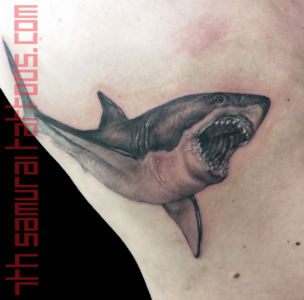 Shark Kai 7th Samurai mens side rib tattoo