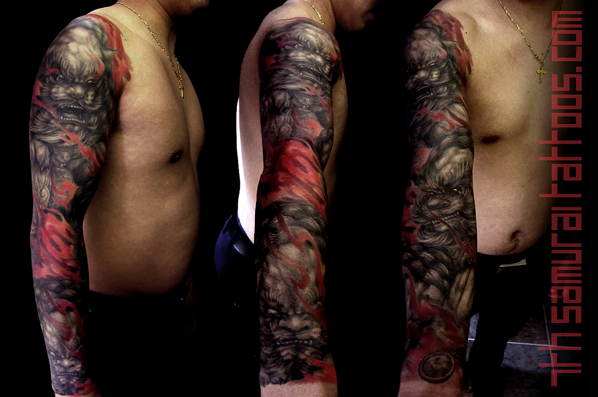 20 port Asian Fudog fire flame 7th Samurai Tattoos men's 15may1 0071 main1 16sep9.jpg