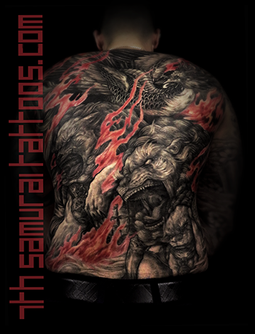 Men's asian Fudogs Phoenix red flame highlights back piece tattoo 3.png