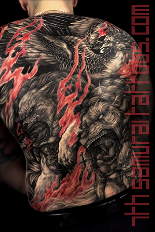 Men's asian Fudogs Phoenix red flame highlights back piece tattoo 4.png