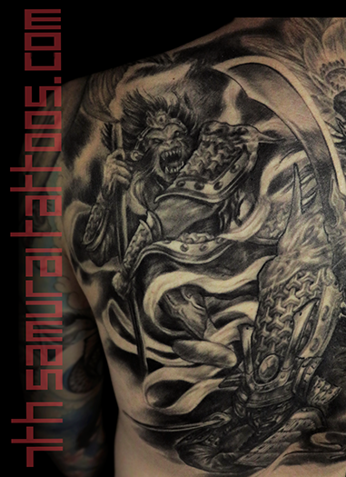 Men's asian deity Buddha Lotus Samurai naked Geisha Monkey King back piece tattoo 2.png