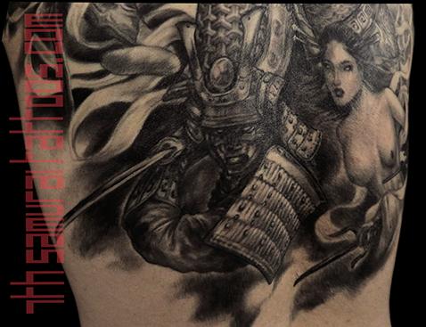 Men's asian deity Buddha Lotus Samurai naked Geisha Monkey King back piece tattoo 7.png