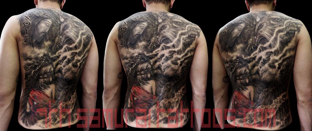 Men's religous Ezekiel 4 headed eagle tiger ox Jesus temptation woman red highlights robes back piece tattoo 1.png