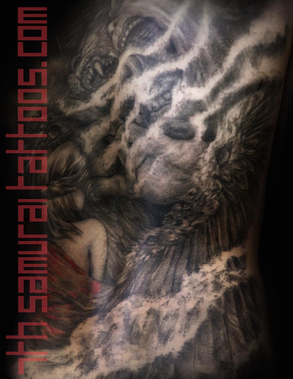 Men's religous Ezekiel 4 headed eagle tiger ox Jesus temptation woman red highlights robes back piece tattoo 4.png