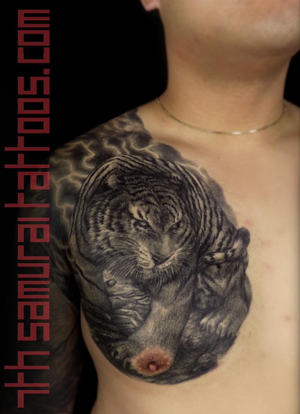 tiger with lightning asian chest men's tattoo animal kai 7th samurai