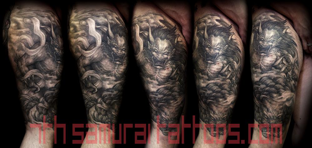 Men's japanese demon Oni with Fudog leg knee asian tattoo 1.png