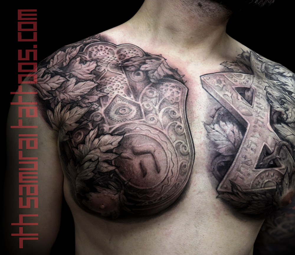 Men's star of David Hebrew san skrit hand chest piece tattoo 2.png