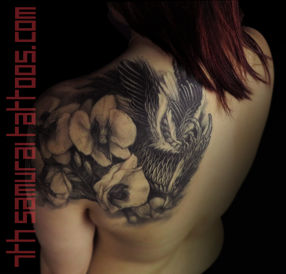 Woman's asian phoenix with orchids upper shoulder back piece tattoo 1.png
