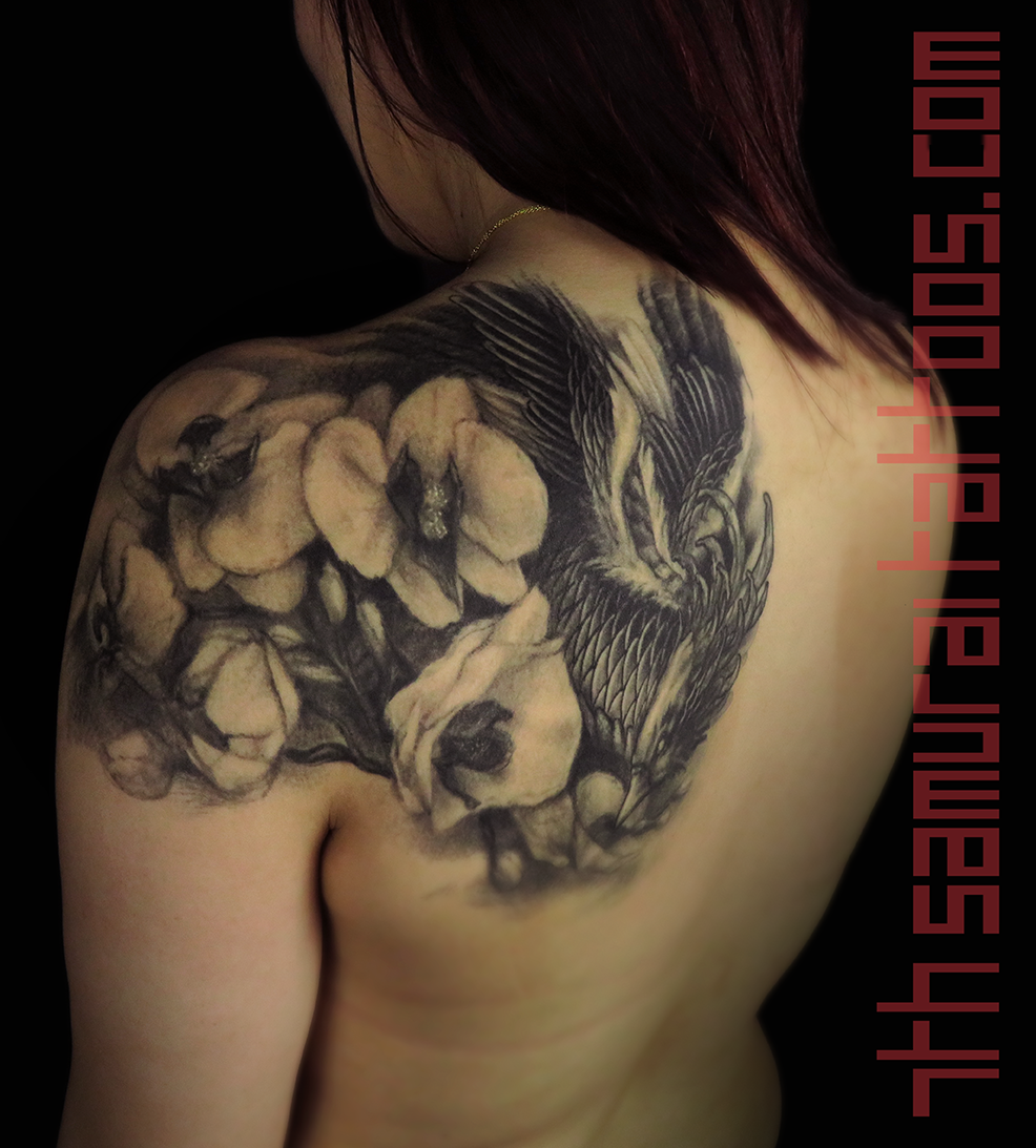 Woman's asian phoenix with orchids upper shoulder back piece tattoo 3.png