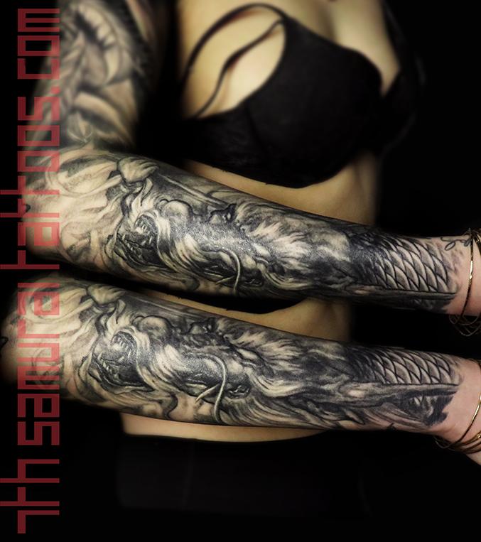 white dzambhala / jambhala / dzambala / zambala deity dragon women's hindu buddhism sleeve kai 7th samurai best edmonton tattoo