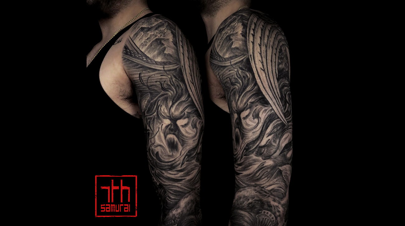 Men's Enenra Japanese folklore geisha wolf okami rice offering temple houseghost spirit mountains asian horror sleeve best tattoo edmonton 2019 kai 7th samurai