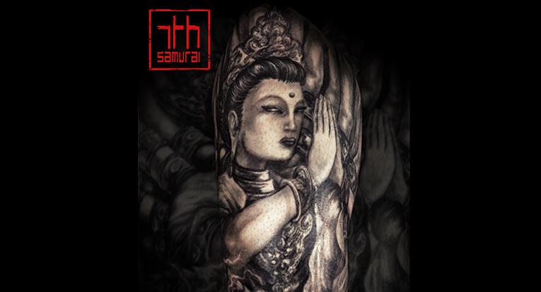 1000 arm (thousand-armed) female buddha deity buddhism avalokitesvara, thousand-armed kannon bodhisattva dragon Fujin Raijin kickboxing deadlift edmonton 7th samurai best tattoo 2019