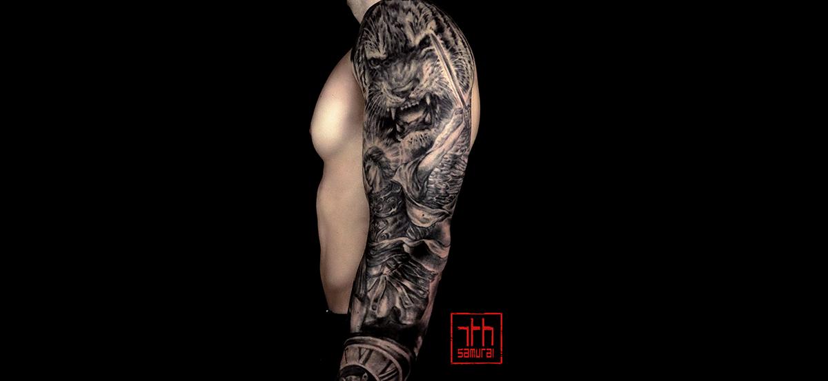Men's angel archangel st.michael statue demon eye tiger clock timepiece euro art Religious sleeve best tattoo edmonton kai 7th samurai 2019