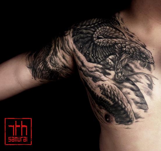Men's Phoenix & snake in smoke effects chest to half sleeve kai 7th samurai edmonton best tattoo 2019