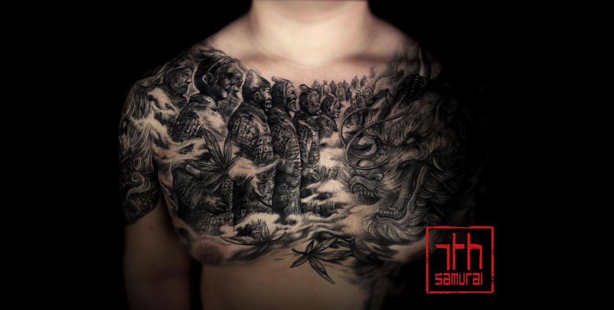 Fudog with skull collar, terracotta warrior statues, japanese acer maple leaves in smoke Men's asian chest arm shoulder kai 7th samurai best tattoo 2019
