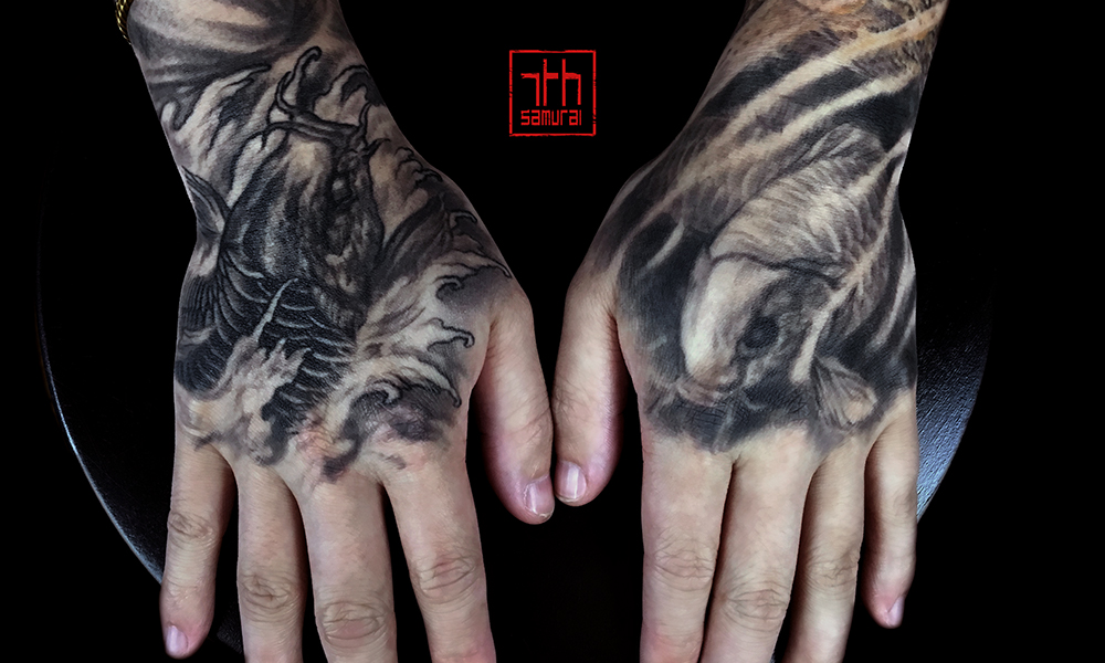 Men's koi yin yang, underwater & out of water hand tattoo kai 7th samurai edmonton best tattoo 2019
