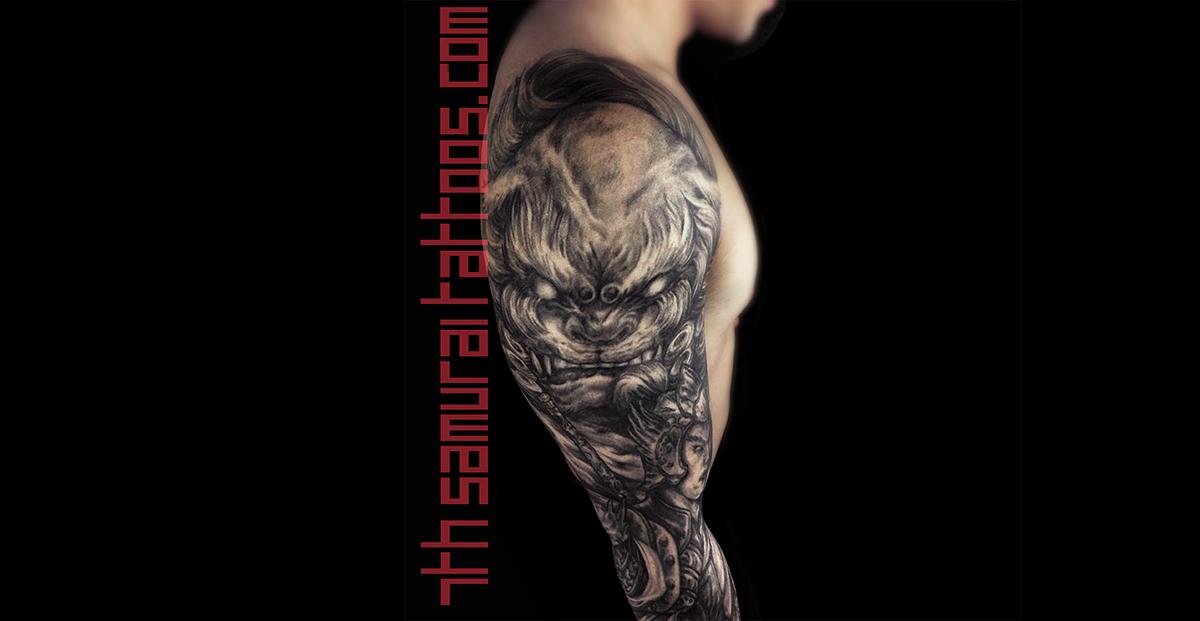 fudog, ancient asian warrior with spear. Money frog, chinese coins, smoke effects Men's asian 3/4 sleeve Kai 7th Samurai Edmonton best tattoo 2019