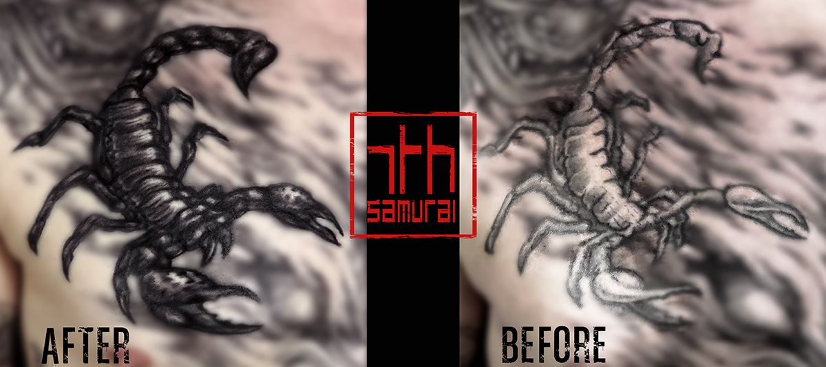 Men's scorpion cover up fix redo animal chest tattoo kai 7th samurai edmonton best tattoo 2019