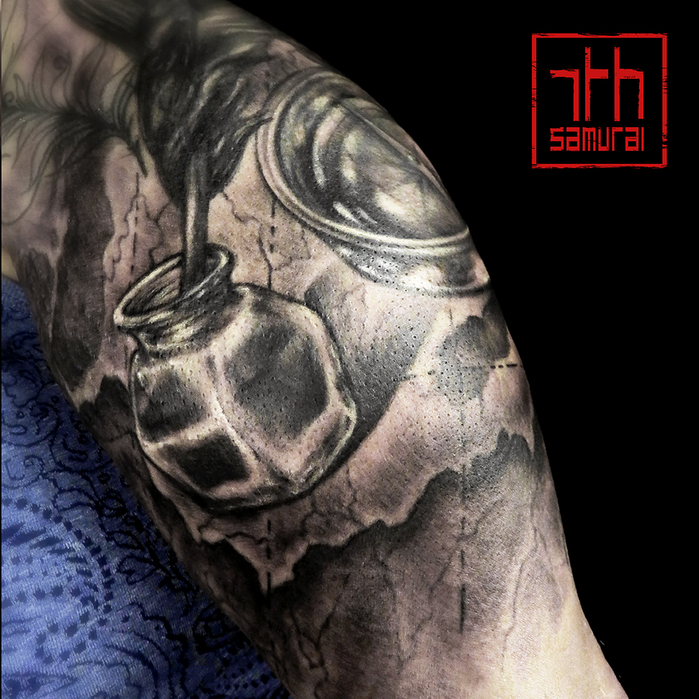 Women's Quill ink bottle map compass arm tattoo kai 7th samurai edmonton best tattoo 2019