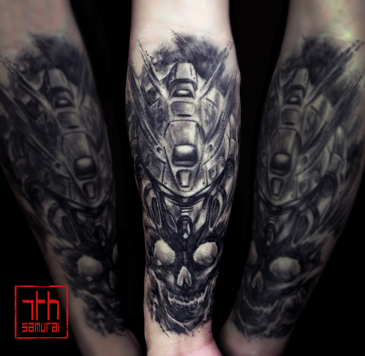 Men's Gundam mobile suit sumi style watercolor brush skull kai 7th samurai edmonton best anime tattoo 2019