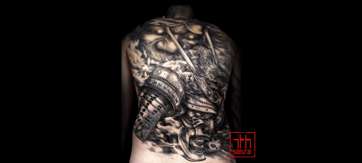 japanese noh mask hannya hanya samurai smoke kai 7th samurai best edmonton tattoo men's back piece
