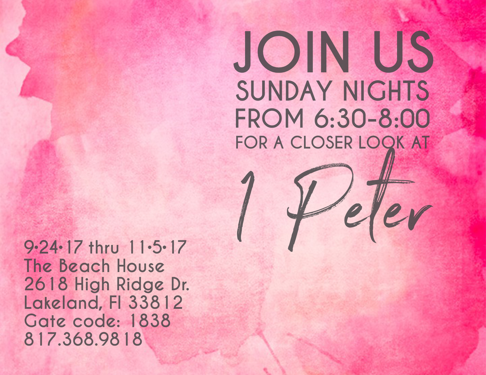 Here is the location and contact info for the high school girls Bible study!