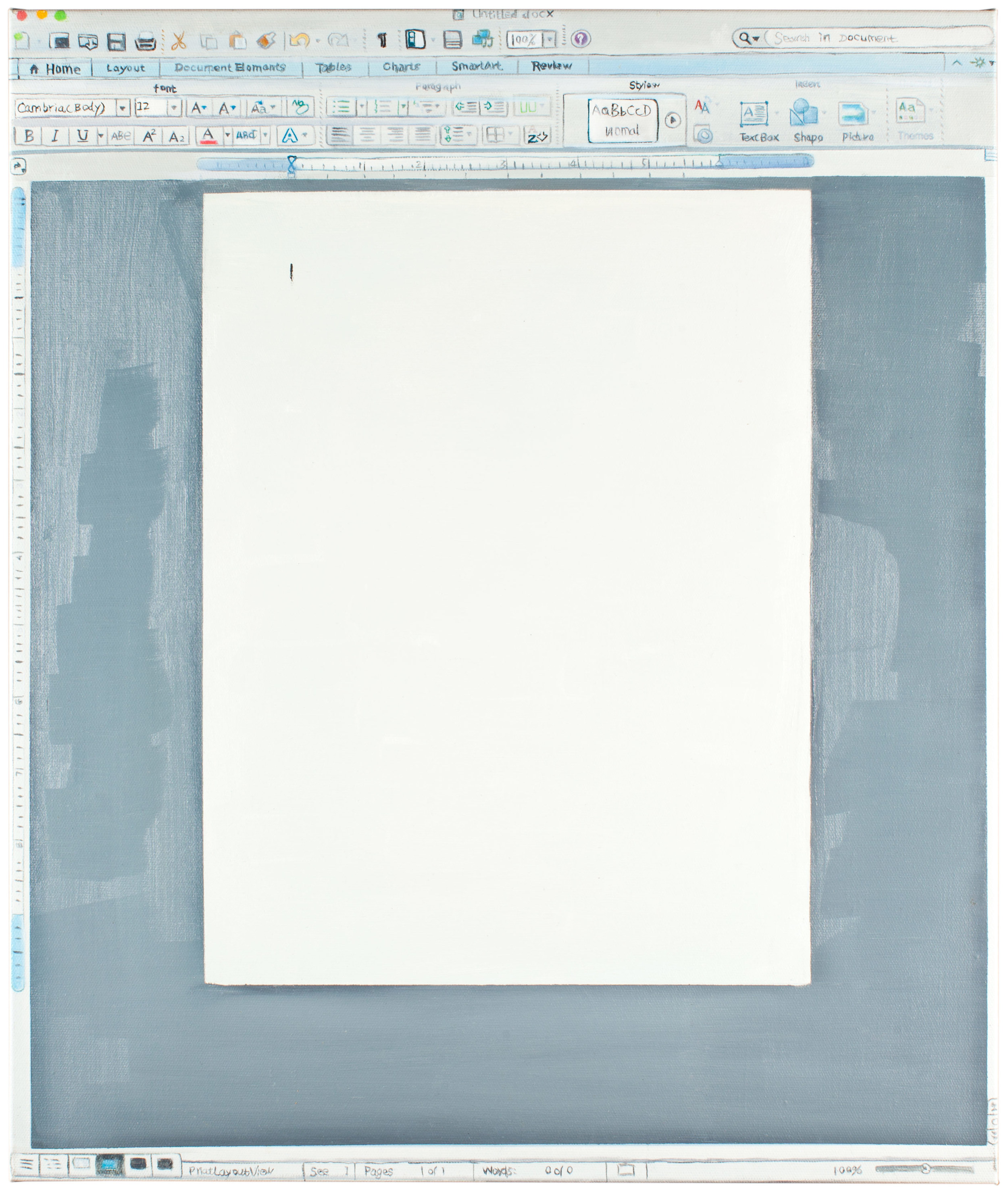 David OReilly   Untitled Word Document   Oil on Canvas 21 x 25 inches