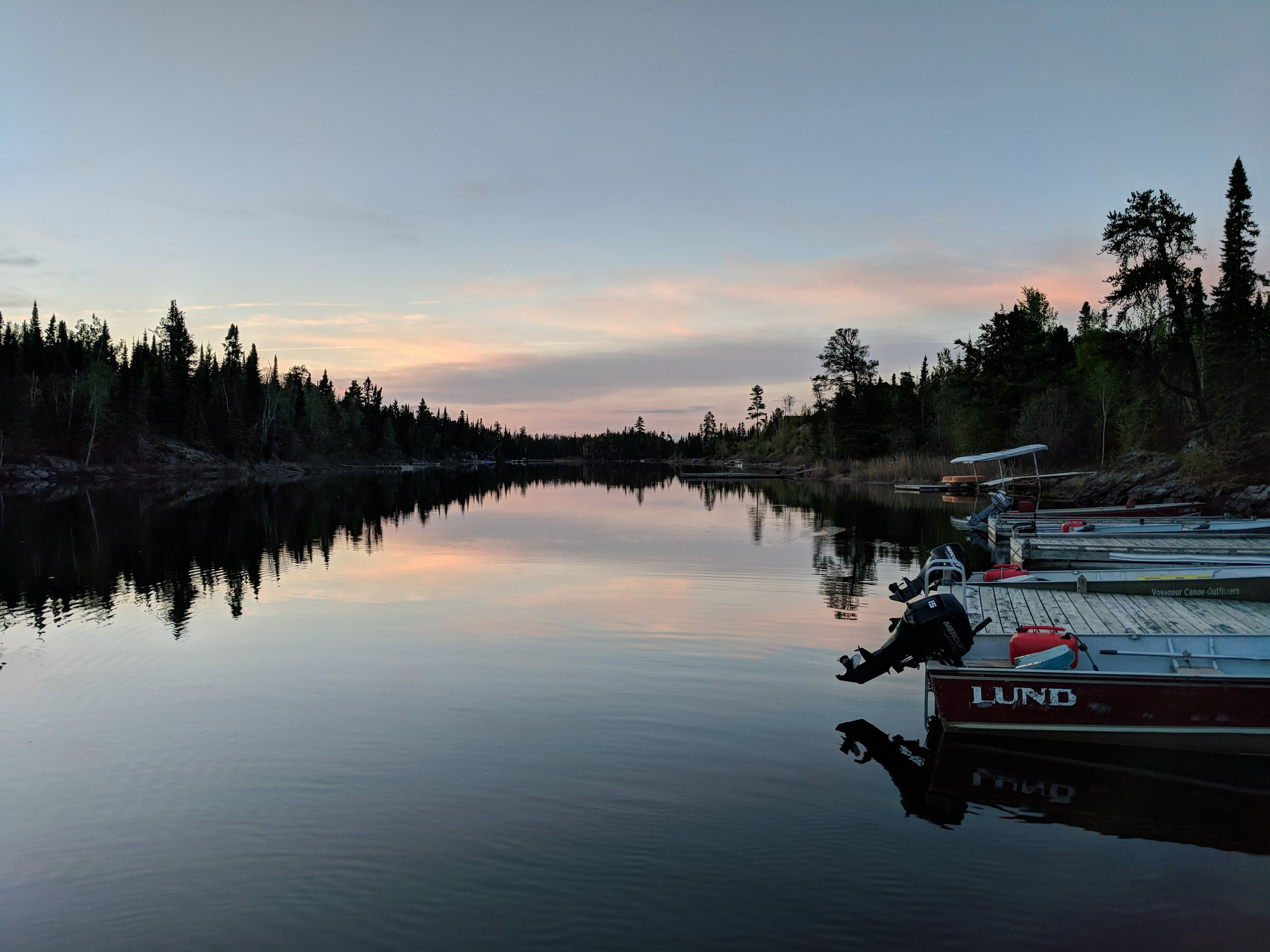The docks looking north on the Sea Gull River at Voyageur Canoe Outfitters.