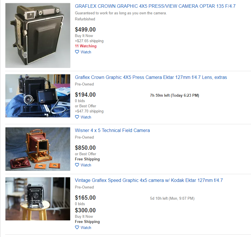 This is typical of the 4x5 market on eBay currently. Used cameras can be found for under $250 dollars, but cameras in the $400-$600 range are more common. Of course, you can spend  a lot  more if you're so inclined.
