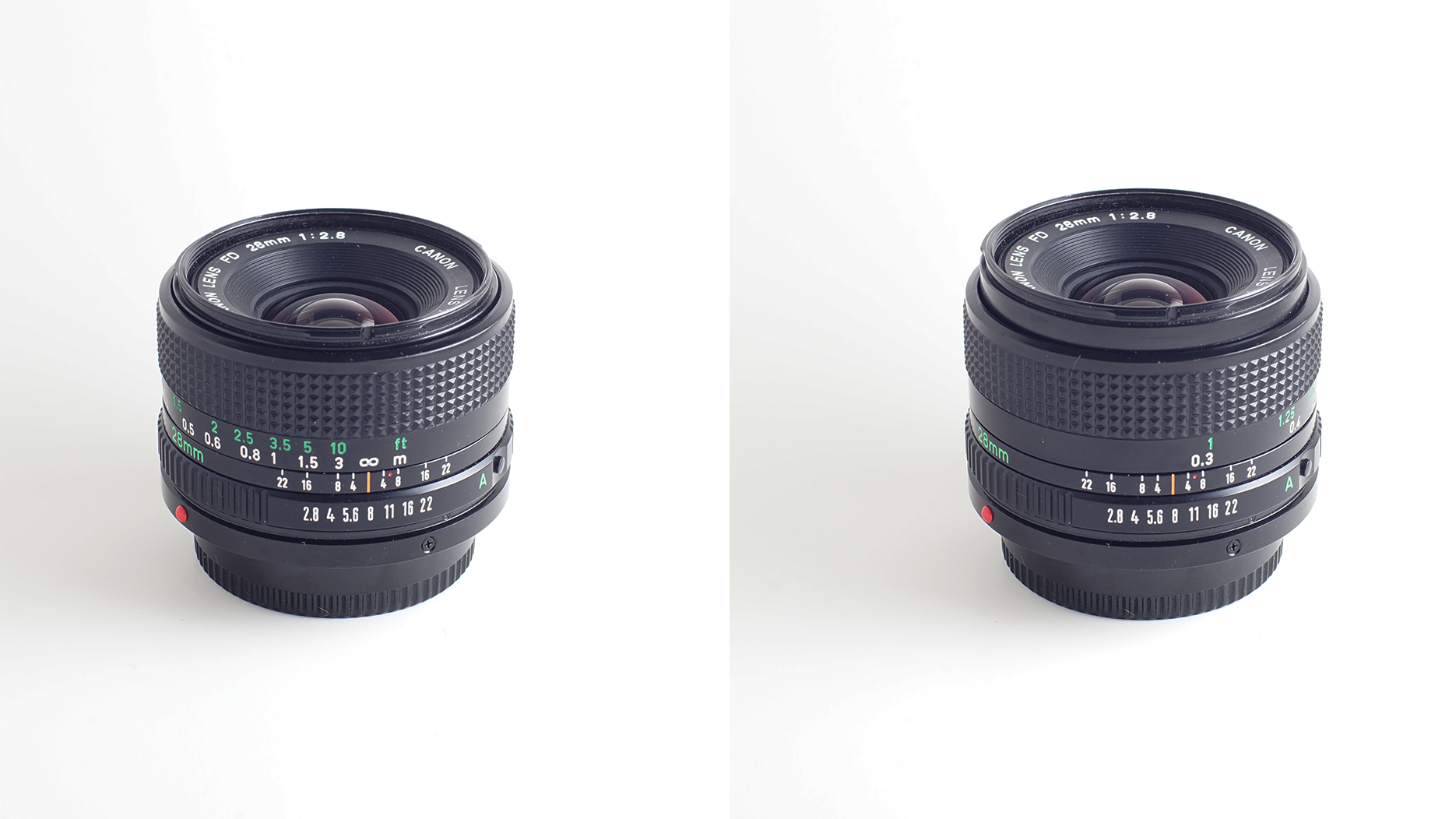 The Canon nFD 28mm fully retracted versus extended. There is very little difference with this lens.
