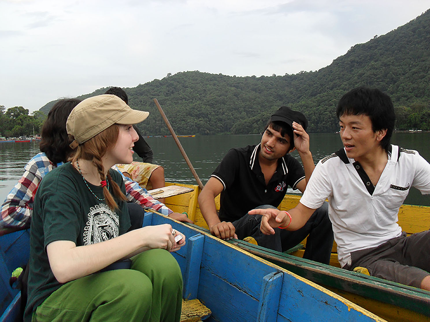 Slater Jewell-Kemker on a boat with others.