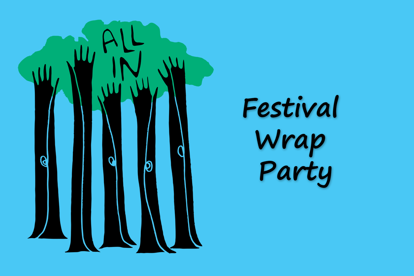 Festival Wrap Party artwork of hands reaching up.