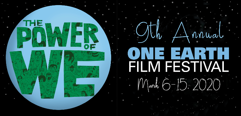 One Earth Film Festival 9th annual poster with globe