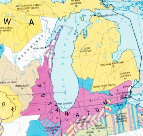 Section of Library of congress map, featuring Potawatomi land area around Lake Michigan that has been judicially established. Geological Survey, U.S, and United States Indian Claims Commission. Indian Land Areas Judicially Established. Reston, Va.: The Survey, 1978.